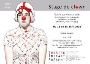 Stage de clown de théâtre en avril 2018 à Nancy