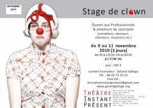 Stage de clown de théâtre du 9 au 11 novembre 2019 à Lyon